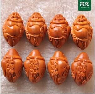 常态木雕 - 八宝弥勒橄榄核雕刻手串